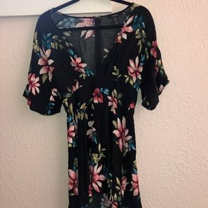 Floral vacation short sleeve dress